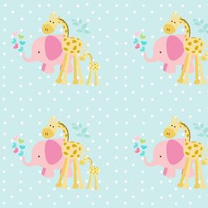 pink hearts elephant friends 2 on seaglass white polka dot - LG105