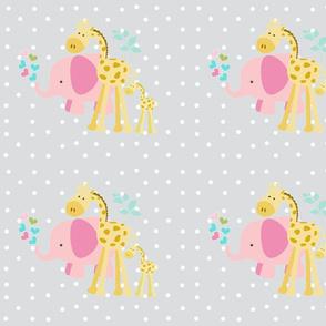 pink hearts elephant friends 2 on lightest gray  white polka dot - LG105