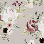 Velvet Cream Valentine Florals // Silver Rust