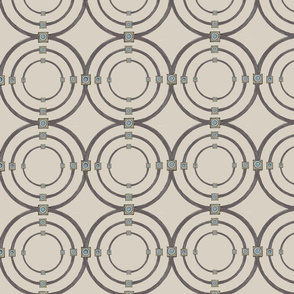 Taupe Triple Circles on Beige