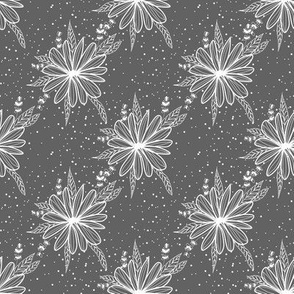 white daisy on grey