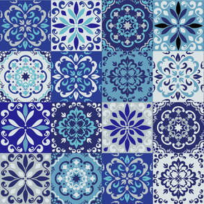 Moroccan Ceramic tiles in bule. Blue portuges tiles