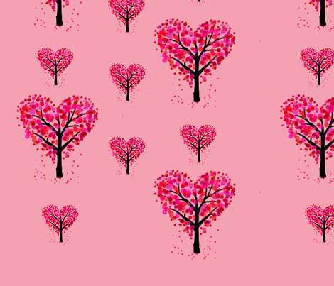 Heart trees peach background fabric by dressed_by_erica on Spoonflower - custom fabric