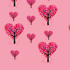 Heart trees peach background