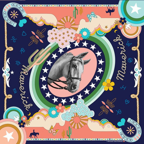 Maverick Scarf* (Sunset) || horse western 70s 1970s seventies pop art clouds stars cactus butterfly butterflies flower flowers mustard coral aqua mint groovy cowboy cowgirl desert prairie