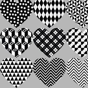 "Monochrome Hearts on Grey 3"" wide"