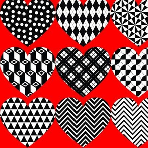 """Monochrome Hearts on Red 3"""" wide"""