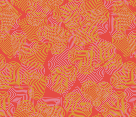 coral cherry yellow hearts fabric by wren_leyland on Spoonflower - custom fabric