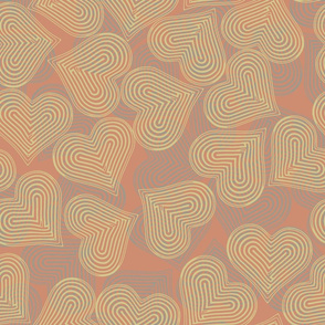 coral mauve tan-hearts