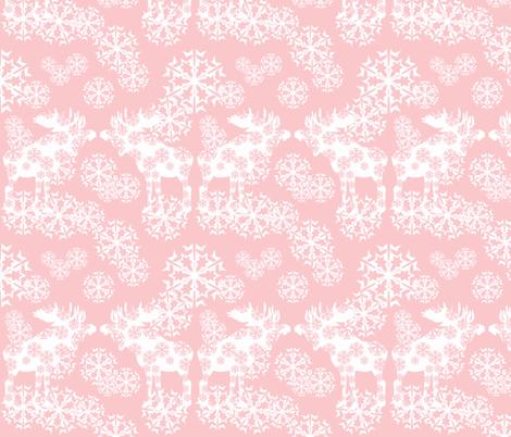 Scandinavian Pink Snowflake Moose Wallpaper Lisakling