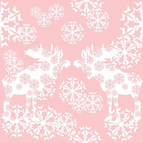 Scandinavian Pink snowflake moose