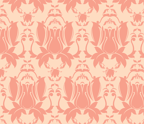 Hollywood Damask in Peach fabric by yourfriendamy on Spoonflower - custom fabric