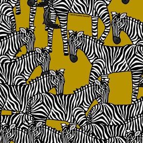 Zebras on Gold Mustard