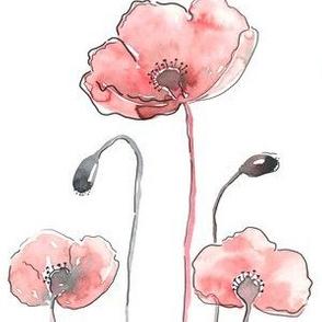 Poppies Watercolour Field