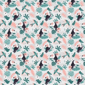 Tropical Toucans - SMALL - gray mint