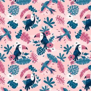Tropical Toucans - BIG - pink