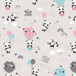 Playful pandas - BIG - beige pink