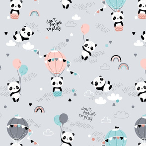 Playful pandas - BIG - gray pink