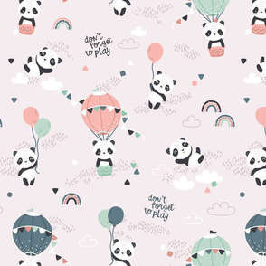 Playful pandas - BIG - beige green
