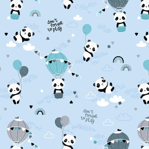 Playful pandas - BIG - blue mint