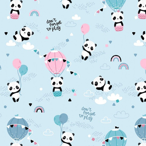 Playful pandas - BIG - blue pink