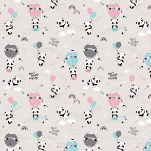 Playful pandas - SMALL - beige pink