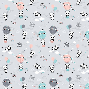 Playful pandas - SMALL - gray pink