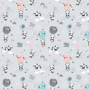 Playful pandas - SMALL - gray pink