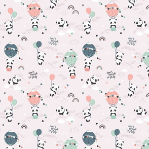 Playful pandas - SMALL - beige green