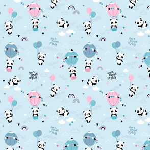Playful pandas - SMALL - blue pink