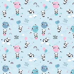Playful pandas - SMALL - blue pink