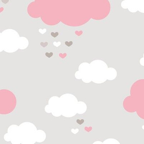 Sleep little baby night sky clouds Scandinavian nursery pink girls