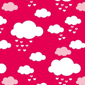 Sleep little baby night sky clouds Scandinavian nursery hot pink girls