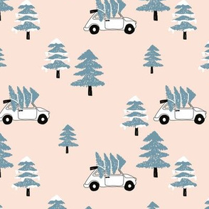 Christmas and pine tree winter wonderland seasonal winter day vintage car print gender neutral blue