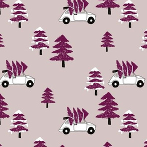 Christmas and pine tree winter wonderland seasonal winter day vintage car print gender neutral maroon
