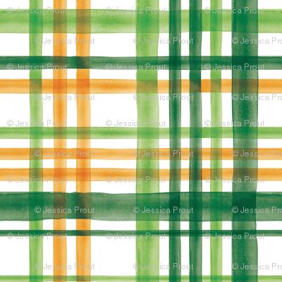 Irish Plaid - Watercolor with orange - St Patricks Day