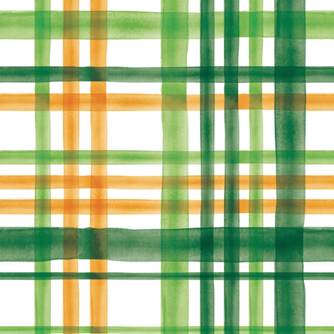 Irish Plaid - Watercolor with orange - St Patricks Day fabric by littlearrowdesign on Spoonflower - custom fabric
