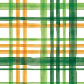 Irish Plaid - Watercolor with orange - St Patricks Day