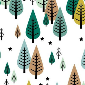 Little pine tree forest Scandinavian style trees and stars winter wonderland green boys
