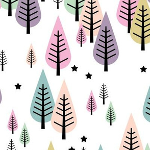 Little pine tree forest Scandinavian style trees and stars winter wonderland soft pastel girls