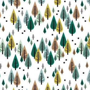 Little pine tree forest Scandinavian style trees and stars winter wonderland soft green SMALL