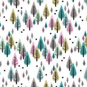 Little pine tree forest Scandinavian style trees and stars winter wonderland green pink girls SMALL