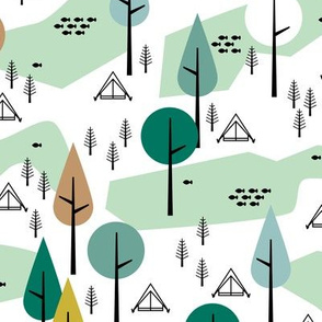Camping adventure mountain river and woodland forest trees spring summer design green gender neutral
