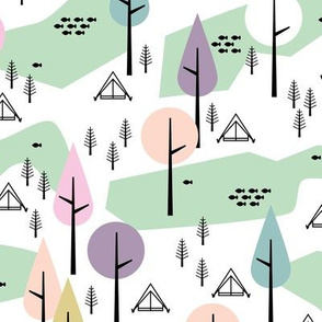Camping adventure mountain river and woodland forest trees spring summer design pastel mint girls