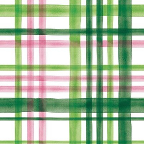 Irish Plaid - Watercolor with pink - St Patricks Day