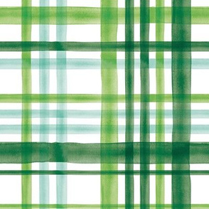 Irish Plaid - Watercolor with mint - St Patricks Day