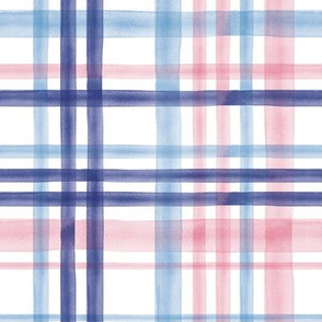 Spring Watercolor plaid - pink and blue