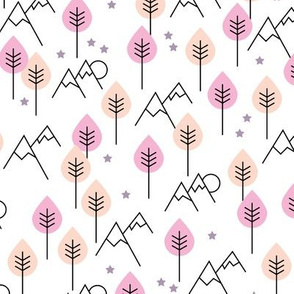 Mountain woodland winter wonderland stars and mountains forest design soft pastel pink girls
