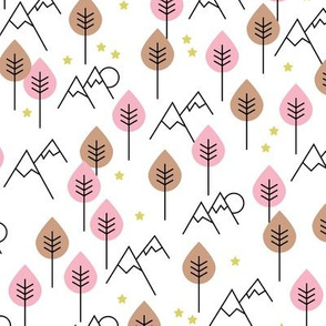 Mountain woodland winter wonderland stars and mountains forest design soft pink girls