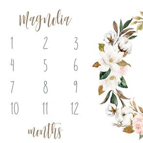 Magnolia Florals Baby Milestone Blanket